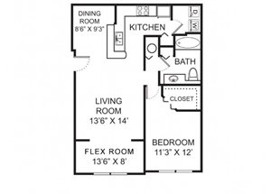 One bedroom one bathroom A2 floorplan at Vista Lago Apartments in West Palm Beach, FL