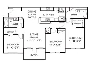 Three bedroom two bathroom C1 floorplan at Vista Lago Apartments in West Palm Beach, FL