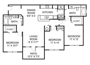 Three bedroom two bathroom C2 floorplan at Vista Lago Apartments in West Palm Beach, FL