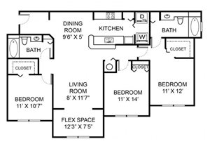 Three bedroom two bathroom C4 floorplan at Vista Lago Apartments in West Palm Beach, FL