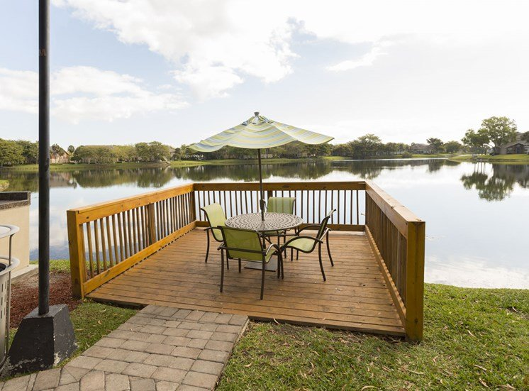 Outdoor deck at Water's Edge in Sunrise, FL