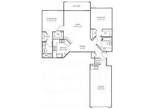Two bedroom two bathroom B1 floorplan at Waterstone at Wellington Apartments in Wellington, FL
