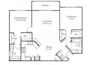 Two bedroom two bathroom B2 floorplan at Waterstone at Wellington Apartments in Wellington, FL
