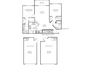Two bedroom two bathroom B3 floorplan at Waterstone at Wellington Apartments in Wellington, FL
