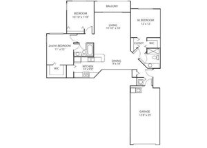 Three bedroom two bathroom C1 floorplan at Waterstone at Wellington Apartments in Wellington, FL