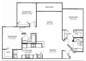 Three bedroom two bathroom C2 floorplan at Waterstone at Wellington Apartments in Wellington, FL