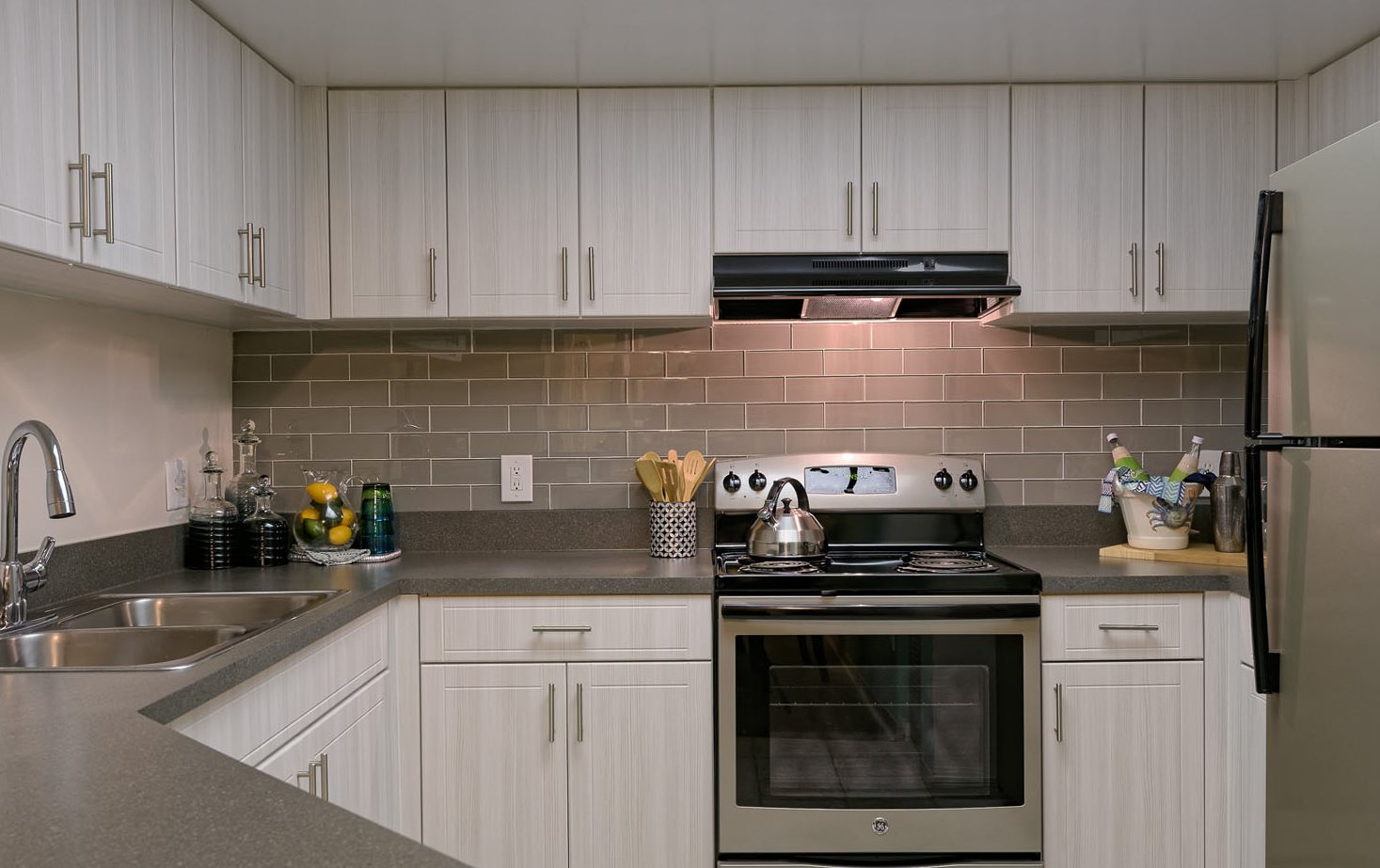 Remodeled kitchen at Waterstone at Wellington apartments in Wellington, FL