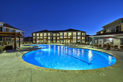 Parkstone at Knightdale Pool at Night