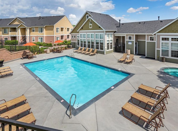 Sparkling Swimming Pool at Village at Westmeadow Apartments, Colorado Springs, CO, 80906