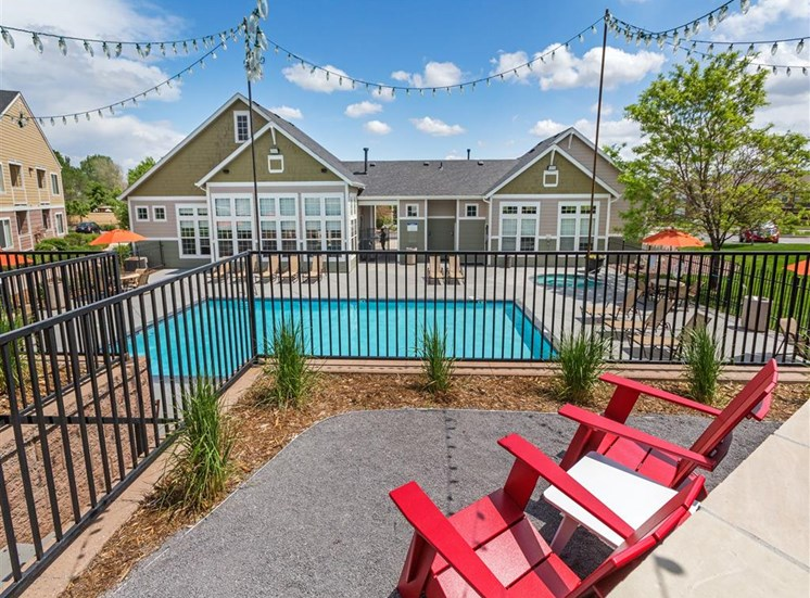 Poolside Relaxing Area at Village at Westmeadow Apartments, Colorado Springs, CO