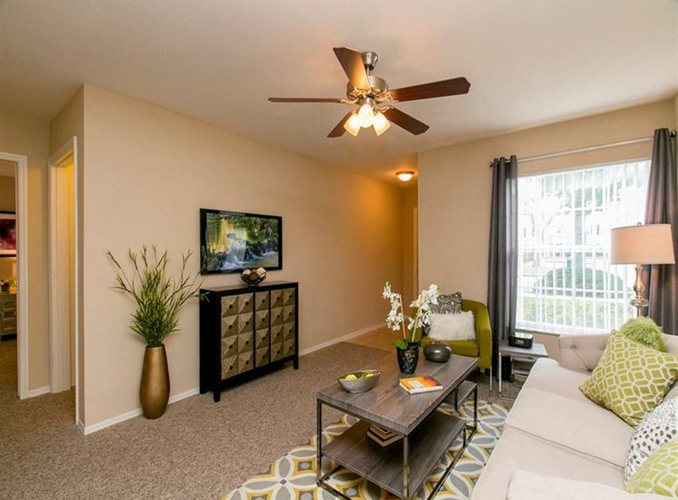 Large Living Room with Ceiling Fan at Hatteras Sound