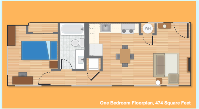 Student apartments in University City floor plan