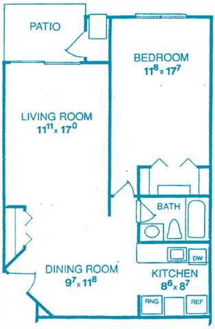 Unit A:1 Bedroom Floor Plan 1