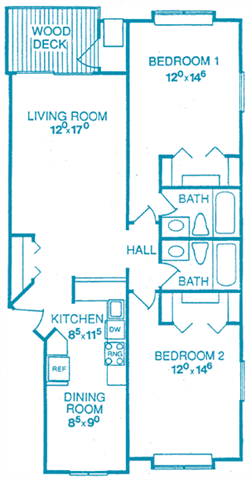 Unit B2: 2 Bedroom Floor Plan 3