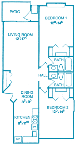 Unit B1: 2 Bedroom Floor Plan 2