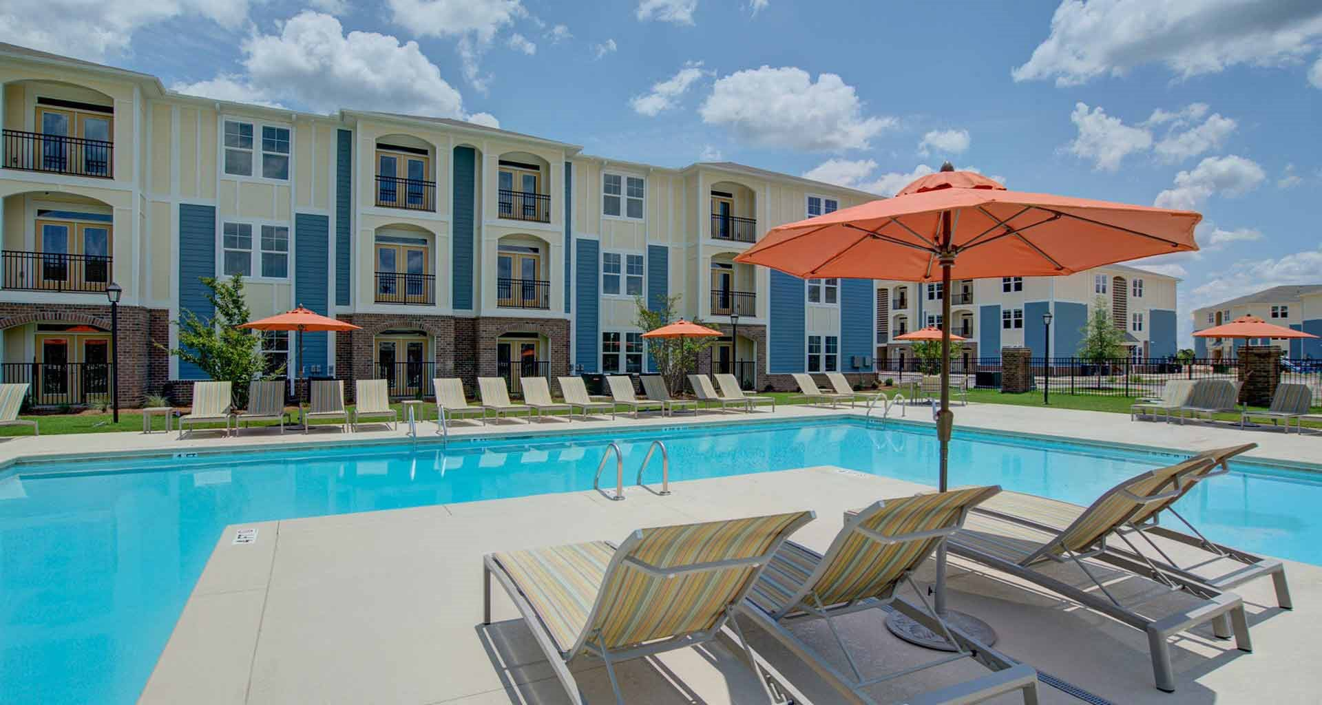 Pool Side Relaxing Area At Beckstone Apartments Summerville 29486