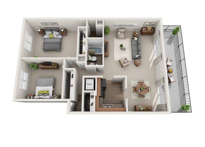 2 BED 1.5 BATH Floor Plan 4