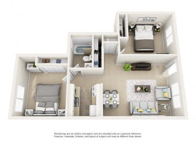2 Bed 1 Bath II Floor Plan 5