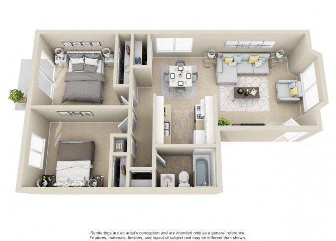 2 Bed 1 Bath III Floor Plan 3
