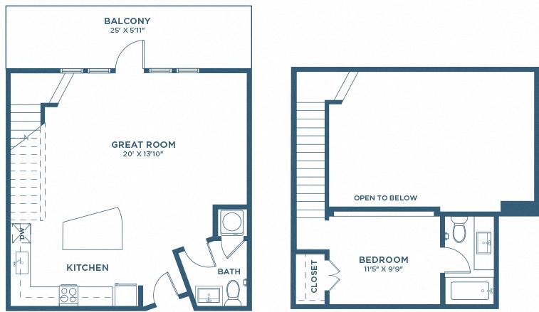 One Bedroom Floor Plan - A10 Loft