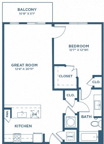 One Bedroom Floor Plan - A4