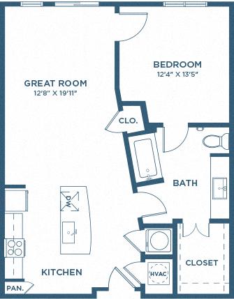 One Bedroom Floor Plan - A5