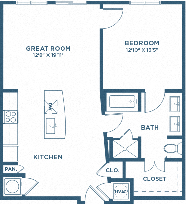 One Bedroom Floor Plan - A6