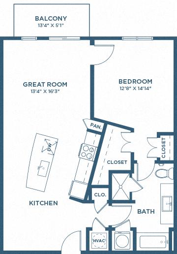 One Bedroom Floor Plan - A8