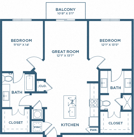 Two Bedroom Floor Plan - B1