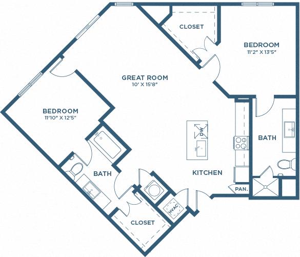 Two Bedroom Floor Plan - B2
