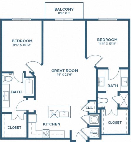Two Bedroom Floor Plan - B3