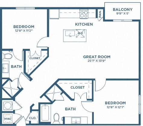 Two Bedroom Floor Plan - B4