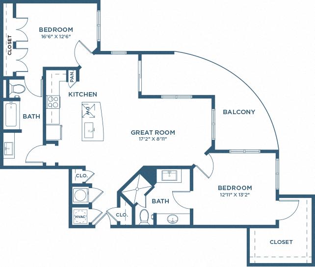 Two Bedroom Floor Plan - B9