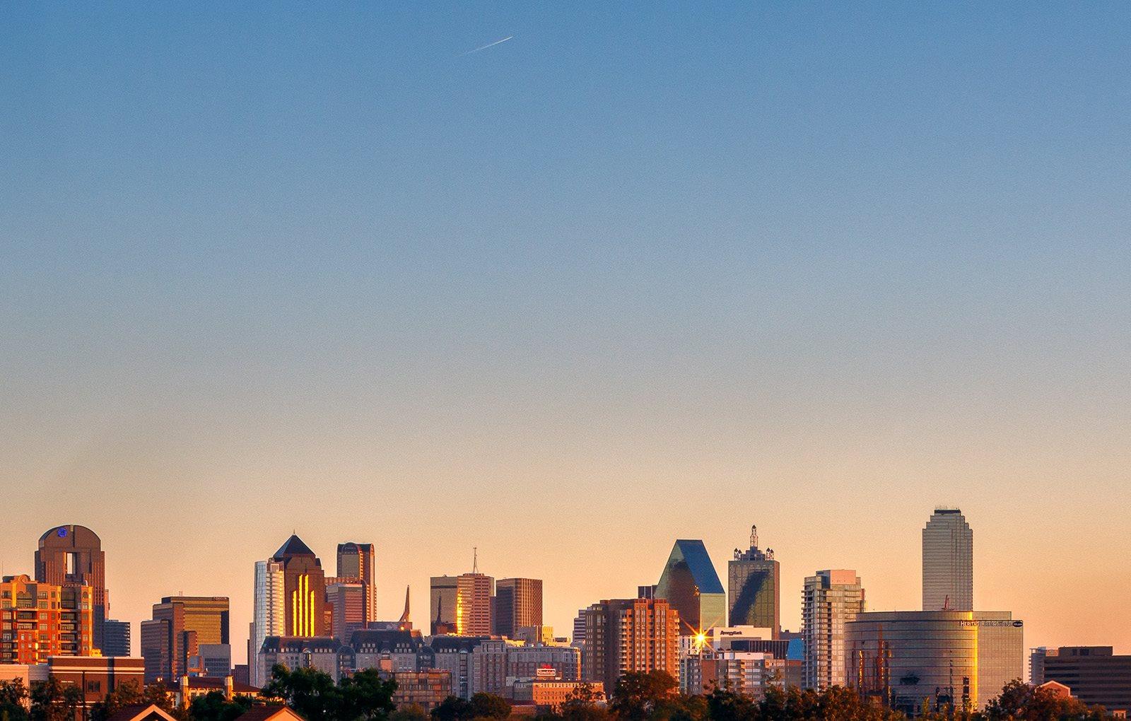 View of Dallas Skyline Evening