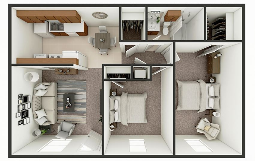 two bedroom apt floor plan