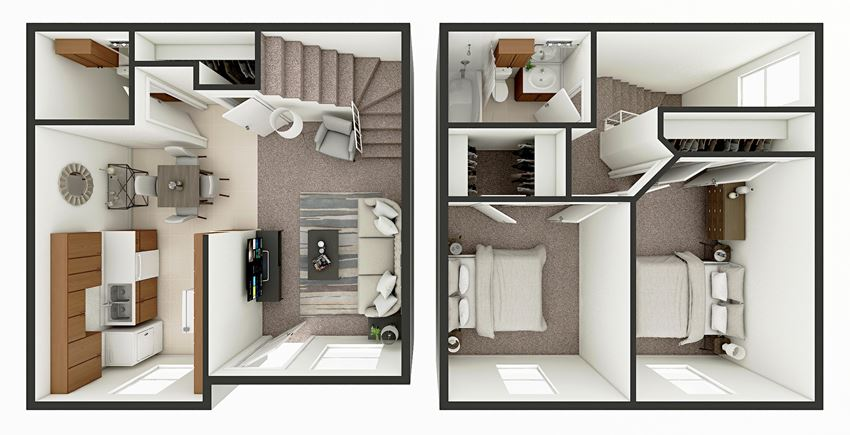 2 bedroom townhome floor plan