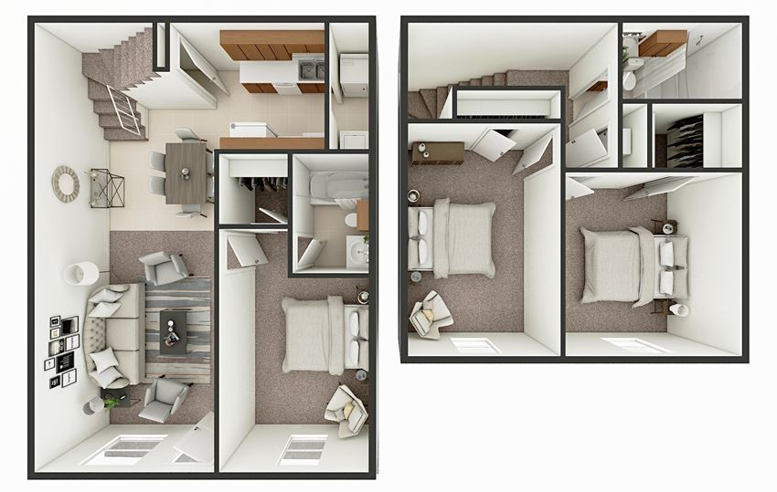two bed 2 bath townhome floor plan