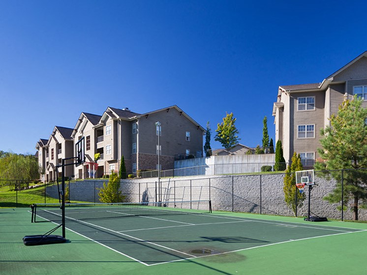 Tennis Court and Basketball Hoop