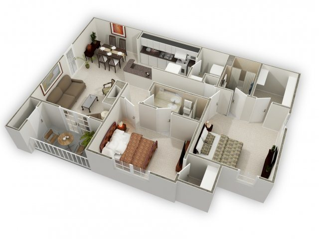 Two Bedroom Large Floor Plan 3