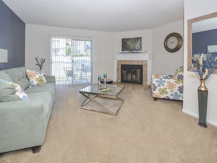 Large Living Room with Glass Sliding Patio Door