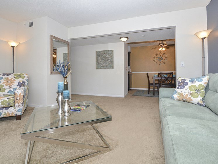 Living Room with Plush Carpet and White Wood Trim
