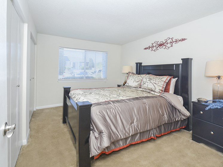 Bedroom with Large Windows and Plush Carpet