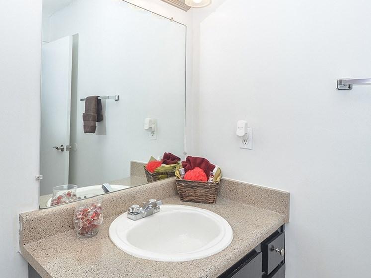 Bathroom Vanity and Large Mirror