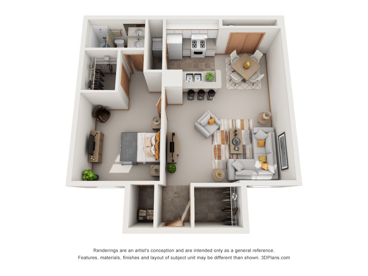 One Bedroom Floor Plan 1