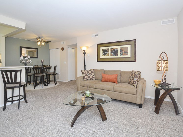 Open Concept Living Room with Dining Area and Breakfast Bar