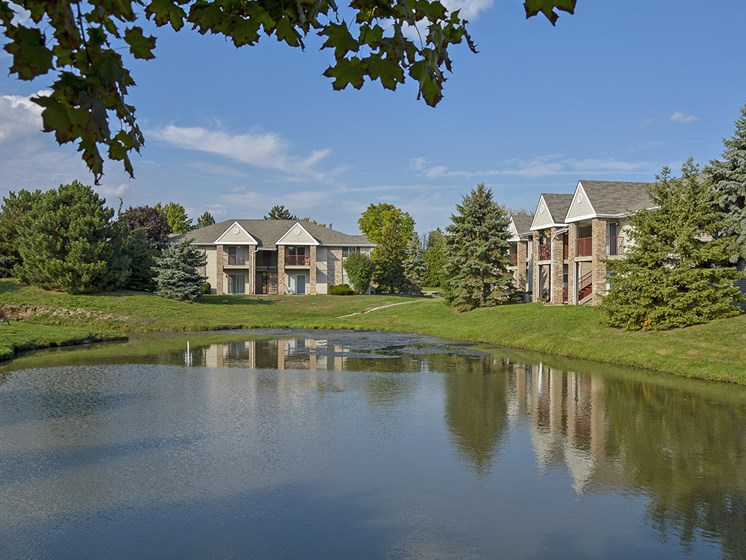 Exterior Patios and Balconies at Turtle Cove Overlooking the Large Pond