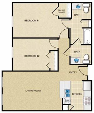 2 Bedroom/1.5 Bath (Flat)