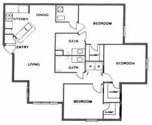 3 Bedroom/2 Bath (Split)