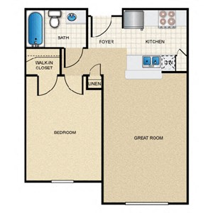 1 Bedroom/1 Bath - A