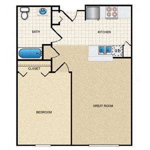 1 Bedroom/1 Bath - B